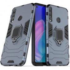 Чехол для Huawei P40 Lite E Transformer Ring ударопрочный с кольцом серый
