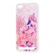 """Чехол для Xiaomi Redmi 5a Блестки вода розовый """"розово-фиолетовые цветы"""""""