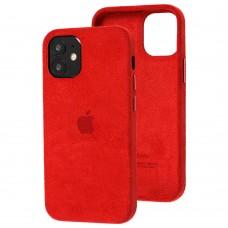 Чехол для iPhone 12 mini Alcantara 360 красный
