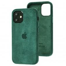 Чехол для iPhone 12 mini Alcantara 360 темно-зеленый