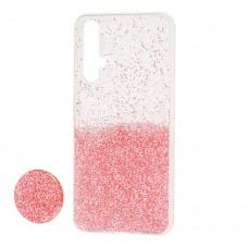 Чехол для Huawei Nova 5T Fashion блестки + popsocket розовый