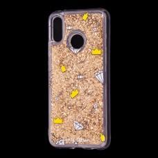 "Чехол для Huawei P20 Lite Блестки вода золотистый ""корона и бриллиант"""