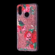 """Чехол для Huawei P20 Lite Блестки вода красный """"красные розы"""""""