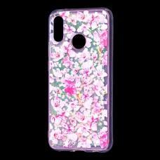 """Чехол для Huawei P20 Lite Блестки вода розовый """"розовые цветы"""""""