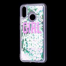 """Чехол для Huawei P20 Lite Блестки вода светло-розовый """"босс"""""""