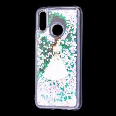 """Чехол для Huawei P20 Lite Блестки вода светло-розовый """"девушка в белом платье"""""""