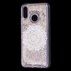 "Чехол для Huawei P20 Lite Блестки вода серебристый ""белая мандала"""