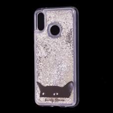 """Чехол для Huawei P20 Lite Блестки вода серебристый """"черный кот"""""""