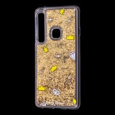 "Чехол для Samsung Galaxy A9 2018 (A920) вода золотистый ""корона и бриллиант"""