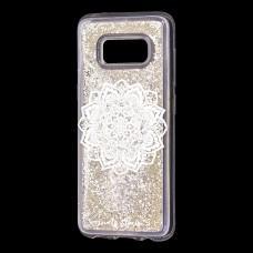 "Чехол для Samsung Galaxy S8 (G950) Блестки вода серебристый ""белая мандала"""