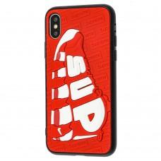 Чехол для iPhone X / Xs Sneakers Brand sup красный / белый