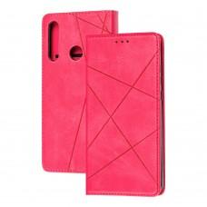 Чехол книжка Business Leather для Huawei Y6P малиновый