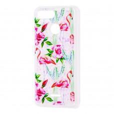 """Чехол для Xiaomi Redmi 6 Блестки вода светло-розовый """"фламинго и кактусы"""""""