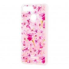 """Чехол для Xiaomi Redmi 6 Блестки вода розовый """"розовые цветы"""""""