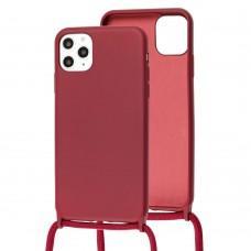 Чехол для iPhone 11 Pro Max Wave Lanyard without logo rose red