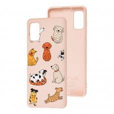 Чехол для Samsung Galaxy A41 (A415) Wave Fancy funny dogs / pink sand