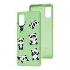 Чехол для Samsung Galaxy A41 (A415) Wave Fancy funny panda / mint gum