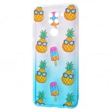 Чехол для Xiaomi Redmi Note 9 Wave Sweet white / turquoise / pineapple