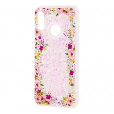 """Чехол для Huawei P Smart 2019 Блестки вода светло-розовый """"цветы"""""""