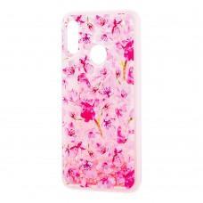"""Чехол для Huawei P Smart 2019 Блестки вода розовый """"розовые цветы"""""""