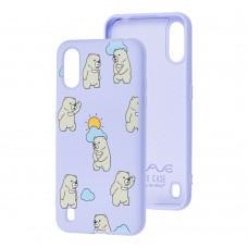 Чехол для Samsung Galaxy A01 (A015) Wave Fancy cute bears / light purple