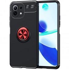 Чехол для Xiaomi Mi 11 Lite Deen ColorRing с кольцом черный / красный