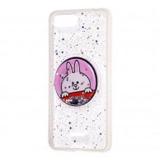 """Чехол для Xiaomi Redmi 6A жидкие блестки игрушка """"заяц"""""""