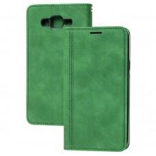 Чехол книжка для Samsung Galaxy J7 (J700) Business matte line зеленый