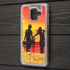 "Чехол для Samsung Galaxy A6 2018 (A600) Pepper блестки вода золотистый ""берег"""