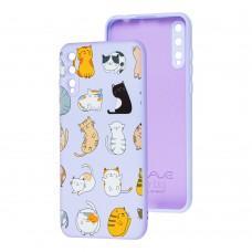 Чехол для Huawei P Smart S Wave Fancy funny cats / light purple