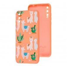 Чехол для Huawei P Smart S Wave Fancy llamas / peach