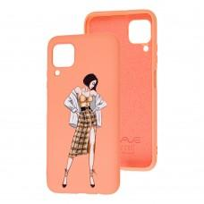 Чехол для Huawei P40 Lite Wave Fancy plaid skirt girl / peach