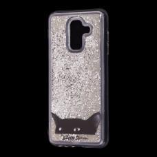 """Чехол для Samsung Galaxy A6+ 2018 (A605) Блестки вода серебристый """"черный кот"""""""