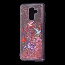 """Чехол для Samsung Galaxy A6+ 2018 (A605) Блестки вода красный """"колибри"""""""