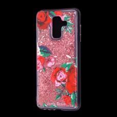 """Чехол для Samsung Galaxy A6+ 2018 (A605) Блестки вода красный """"красные розы"""""""