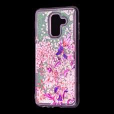 """Чехол для Samsung Galaxy A6+ 2018 (A605) вода розовый """"розово-фиолетовые цветы"""""""