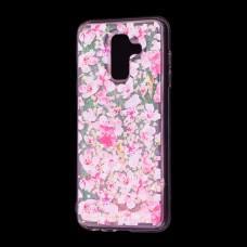 """Чехол для Samsung Galaxy A6+ 2018 (A605) вода розовый """"розовые цветы"""""""