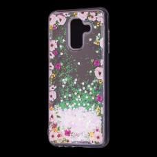 """Чехол для Samsung Galaxy A6+ 2018 (A605) Блестки вода светло-розовый """"цветы"""""""