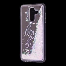 "Чехол для Samsung Galaxy A6+ 2018 (A605) Блестки вода светло-розовый ""boy bye"""