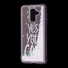 "Чехол для Samsung Galaxy A6+ 2018 (A605) Блестки вода светло-розовый ""yes you can"""