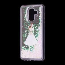 """Чехол для Samsung Galaxy A6+ 2018 (A605) вода светло-розовый """"девушка в белом платье"""""""