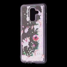 """Чехол для Samsung Galaxy A6+ 2018 (A605) вода светло-розовый """"маленькие единороги"""""""