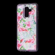 """Чехол для Samsung Galaxy A6+ 2018 (A605) вода светло-розовый """"фламинго и кактусы"""""""