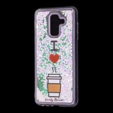 """Чехол для Samsung Galaxy A6+ 2018 (A605) Блестки вода светло-розовый """"я люблю кофе"""""""