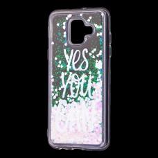 "Чехол для Samsung Galaxy A6 2018 (A600) Блестки вода светло-розовый ""yes you can"""