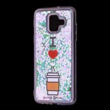 """Чехол для Samsung Galaxy A6 2018 (A600) Блестки вода светло-розовый """"я люблю кофе"""""""