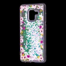 """Чехол для Samsung Galaxy A6 2018 (A600) Блестки вода светло-розовый """"цветы"""""""