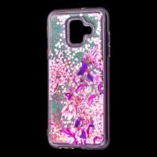 """Чехол для Samsung Galaxy A6 2018 (A600) вода розовый """"розово-фиолетовые цветы"""""""