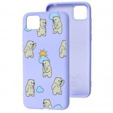 Чехол для Huawei Y5p Wave Fancy cute bears / light purple