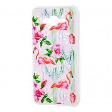 """Чехол для Samsung Galaxy J7 (J700) вода светло-розовый """"фламинго и кактусы"""""""